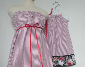 LAST ONE Mommy and Me Matching Dresses. Mother Daughter Matching. Mommy & Me Clothing. Floral.  Pin Stripe. Red and White. Christmas