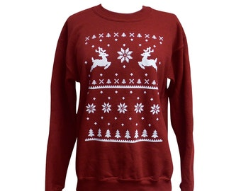 Deer Ugly Christmas Sweater - Reindeer Sweatshirt - Unisex Sizes S, M, L, XL