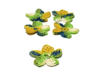 Crochet Applique Mini Flower Motif Flower Embellishment Crochet Flower Applique Mustard Blue Green Beige Crochet Motif Crochet Flower Motif