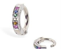 Beautiful Rainbow Pave Set Sterling Silver Sleeper Belly Ring By TummyToys (69110)