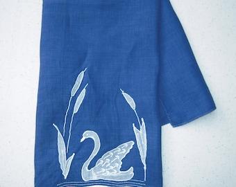 Vintage Towel Elegant Blue Swan