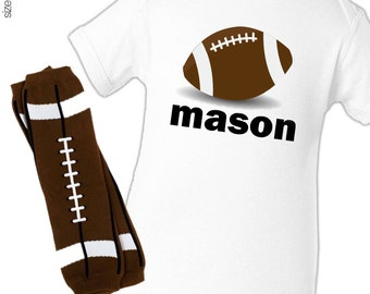 Personalized football bodysuit or t-shirt and leg warmers set great new baby or baby shower gift