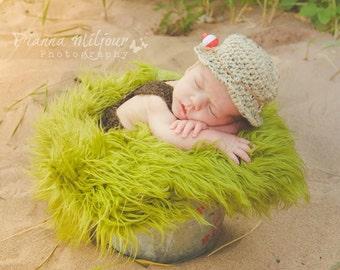 Newborn Baby Hat, Newborn Photo Prop, Baby Fishing Hat, Crochet Fisherman Hat, Gone Fishin' Hat, Newborn Photography, Color Oatmeal