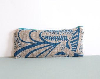 Linen Pencil Case - Blue Bird Motif, Gift for Girlfriend