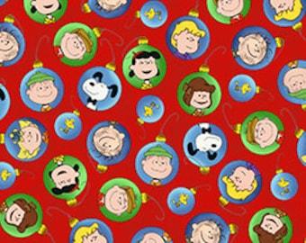 Peanuts Christmas Fabric Ornament Toss 1/2 Yard