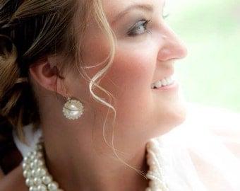 Bold Bridal Wedding  Handmade chunky layered ivory pearl necklace, pearl jewellery