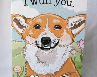 Smiling Corgi Greeting Card