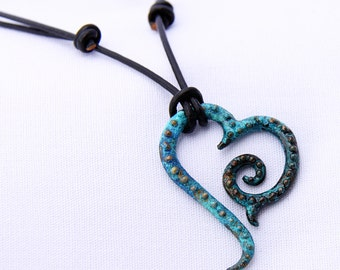 Beaded Tribal Heart in barnacle blue
