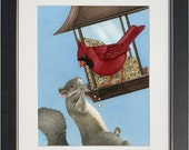 A Squirrel Dilemma - archival watercolor print by Tracy Lizotte