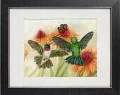 Hummingbird Garden No II - archival watercolor print by Tracy Lizotte
