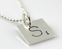 Scrabble Tile Inspired Necklace - Hand Stamped and Personalized Sterling Silver Initial Tile Necklace - Words with Friends Inspired Necklace