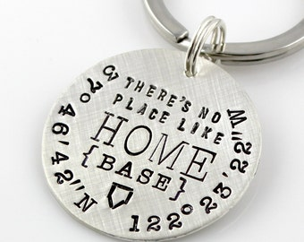Personalized Geographic Coordinates Keychain - There's No Place Like Home Base hand stamped sterling silver keychain | baseball gift