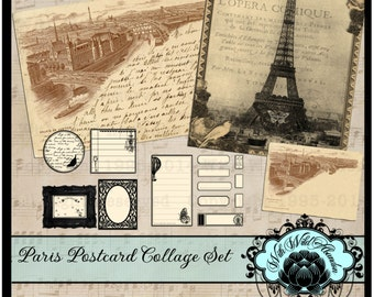 Vintage Paris Clipart, Paris Scenery,French Tags, French Labels and Postcards.   Perfect for digital , transfer images or clipart.