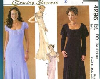 McCalls Evening Elegance 4296 Dress Sewing Pattern Sizes 12  14  16  18 UNCUT Prom Dress