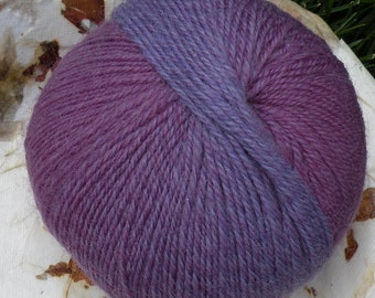 Sock yarn SOFT wool purple blue magenta pink, 220 yards 1 skein, fingering baby variegated feltable knitting crochet Life's an Expedition