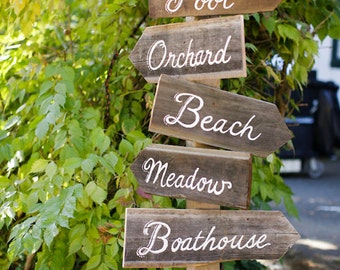 Custom wood Multi Directional Signs. Wedding. Bridal Shower. Themed Party. Reception Signage. Garden Signs. Winery. Custom Event Signs