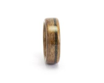 Wood Wedding Band, Wood Ring for Men or Women, Wooden Wedding Ring, Walnut Wood Ring, Black Opal Ring, Bentwood Ring, Wooden Band, Opal Ring