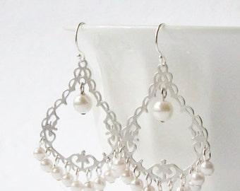ON SALE White Pearl Fringe Chandelier Earrings