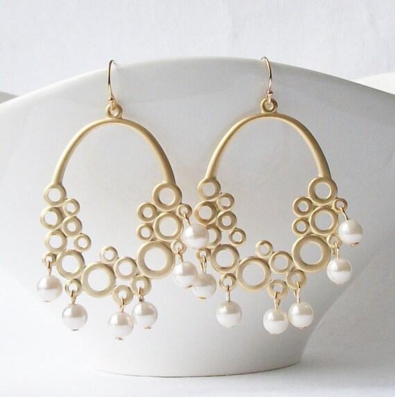 Pearl Bubble Chandelier Earrings, Pearl Statement Earrings