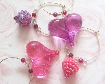 PINK & PURPLE PASSION wine charms - Set of 4 drink markers - Fun Flirty Barware - Girls Nite