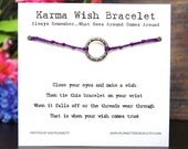 Karma - Textured Silver Circle - Wish Bracelet - Shown In GRAPE - Over 100 Different Colors Are Also Available