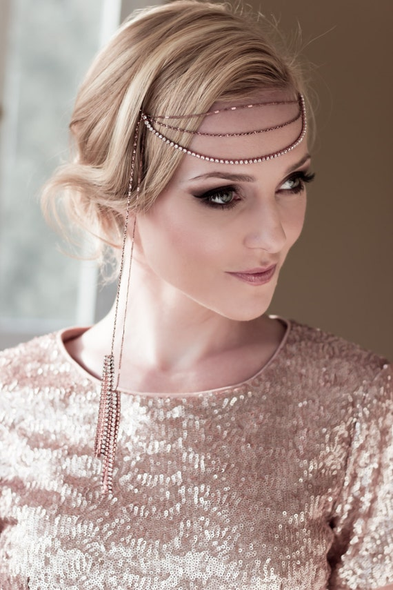 Art Deco Bridal Demi Headwrap with Rose Gold Rhinestones