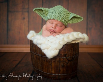 Baby Yoda Hat & Diaper Cover Set Star Wars Newborn 3m 6m Crochet Photo Prop Baby Clothes Boys Girls Gender Neutral Costume Very CUTE