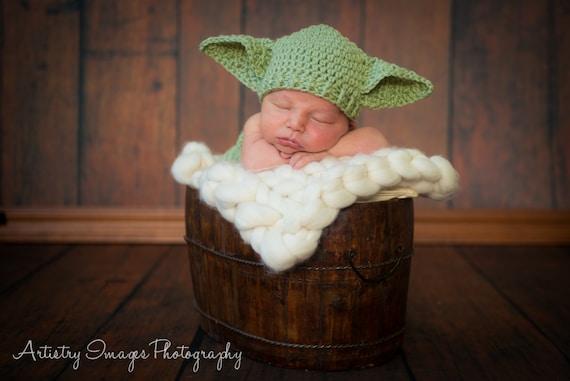 Items similar to Yoda Hat & Diaper Cover Set Star Wars ...