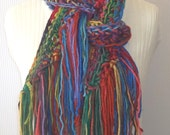 Crochet Scarf, Rainbow Scarf, Fashion Scarf, Designer Scarf, Fringed Scarf, Handmade Scarf, One of a kind Scarf, Great Gift Idea