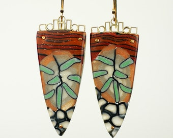 Fashion forward art jewelry earrings, Modernist Polymer Clay Pendant Earrings