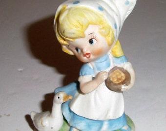 Vintage Little Dutch Girl Figurine - Girl with Goose - Porcelain Figurine - Vintage Figurine - Farm Girl - Farm Girl - Girls Room Decor