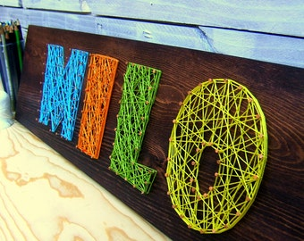 Modern String Art Wooden Name Tablet - 4 letters