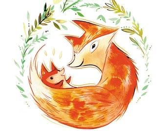 baby fox 8.5x11 watercolor print