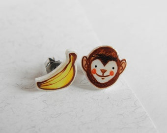 Monkey & banana earrings stud, kawaii jewel