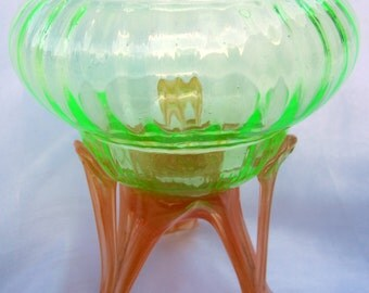 Deco Green Art Glass Kralik Vaseline Applied Footed Base Czech Bohemian Bowl Rare