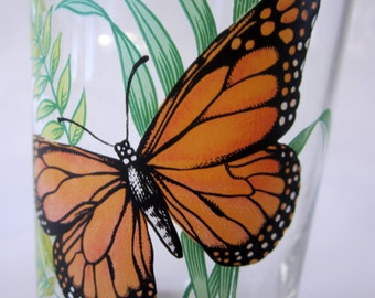 Glass Tumbler Monarch Butterfly Set of 8 Collectible Gift Heavy Bottom Treasury