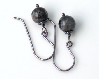 Labradorite Drop Earrings, Dark Stone Earrings on Oxidized Silver Ear wires, Artisan Earrings