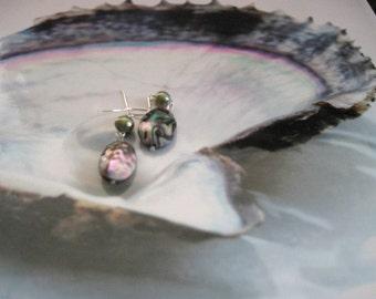 SALE,Natural Colorful Abalone Dangle Earrings,Pearl Earrings,Shell Earrings,Pearl Jewelry,Sea Jewelry,One of a Kind Handmade Earrings