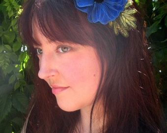 Cobalt Blue Icelandic Poppy Flower Headband- You Choose Headband, Clip, or Brooch- Embroidered Silk Flower Fascinator with Leaves