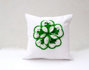 "St Patrick's Day Shamrock PILLOW Cover 16"" -  White Cotton with Large Green Crocheted Vintage Shamrock Applique (Ready to Ship)"