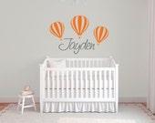 Hot air balloon name decal for nursery DB331