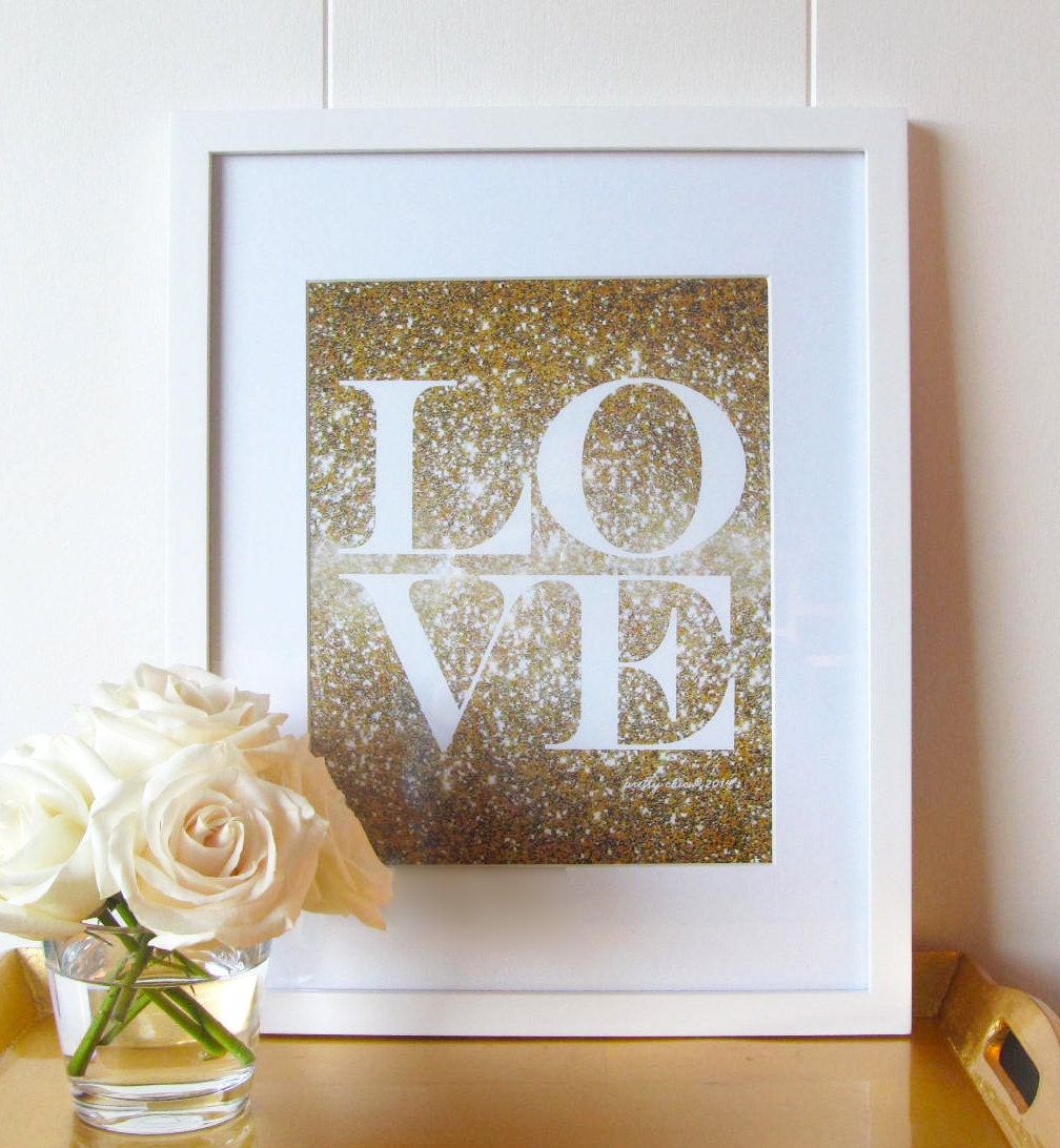 Glitter love print gold glitter love glitter wall art for Gold wall art