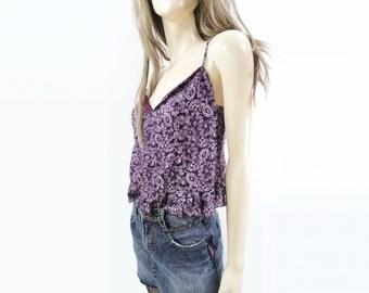 Anna Sui Tank Top, Vintage Lace Top, Ruffled Crop Top, Purple Paisley, Stretch Lace Grunge, Vintage Crop Tank,  90s Designer Lace, s,m