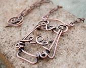 Large Owl Necklace. Oxidized Copper, Wire Jewelry.