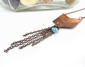 Tribal necklace copper arrow pendant with long copper fringe and turquoise nugget