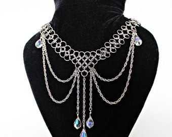 Annabelle Chainmail Stainless Steel drape Clear Crystal cleavage necklace
