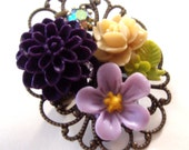 Brooch - Flowers and Iridescent Austrian Crystal Assemblage Pin - Antiqued Brass Filigree - Mixed Media Jewelry