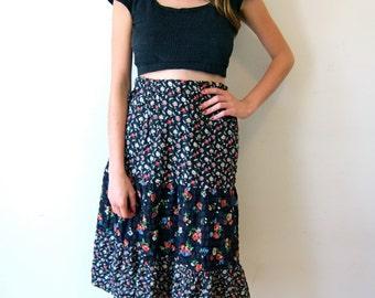 Lovely Black Floral Prairie Skirt