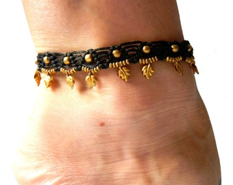 Macrame Anklet with Brass Dangle Solid Leaf Charms - Black, Pink