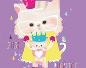 Nursery art, children's room, purple bright cat art, fairy tales 'Puss in Puddles' by Schmooks